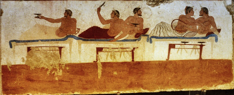 Feast fresco from the Tomb of the Diver as an illustration for Athenaeus' Feast Wisdom