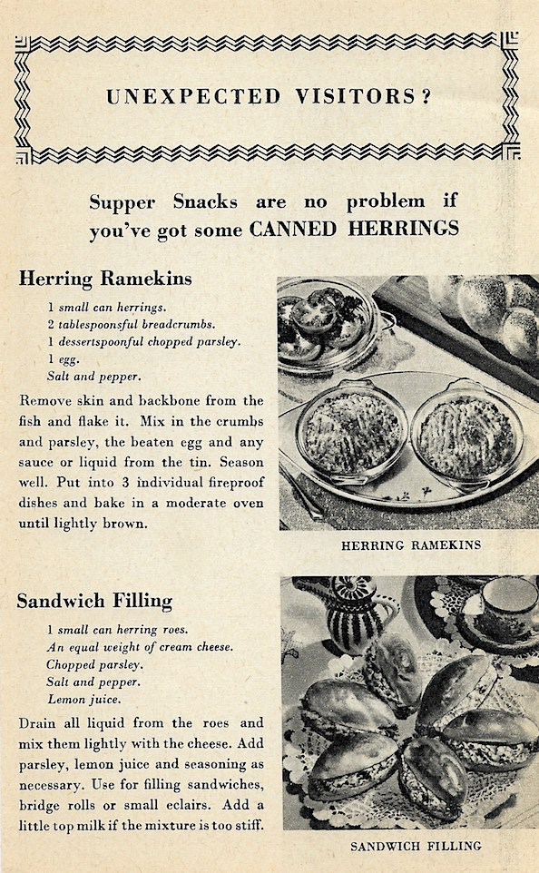 Herring Industry Board recipes for Canned Herring