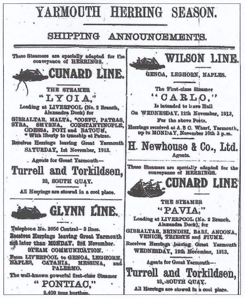 1913 newspaper adverts for shipping herring