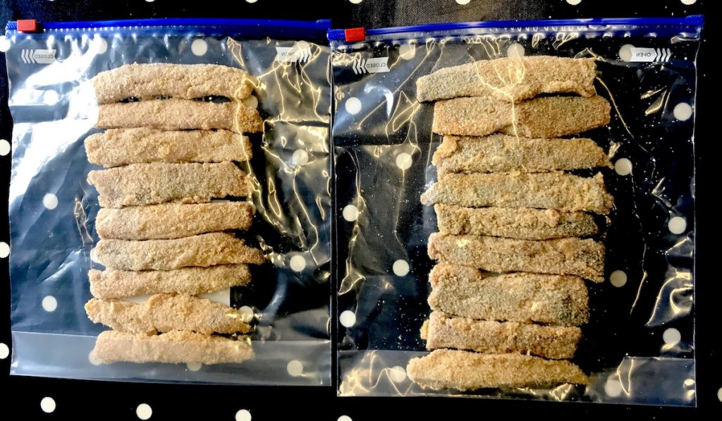 Herring fish fingers ready for the freezer