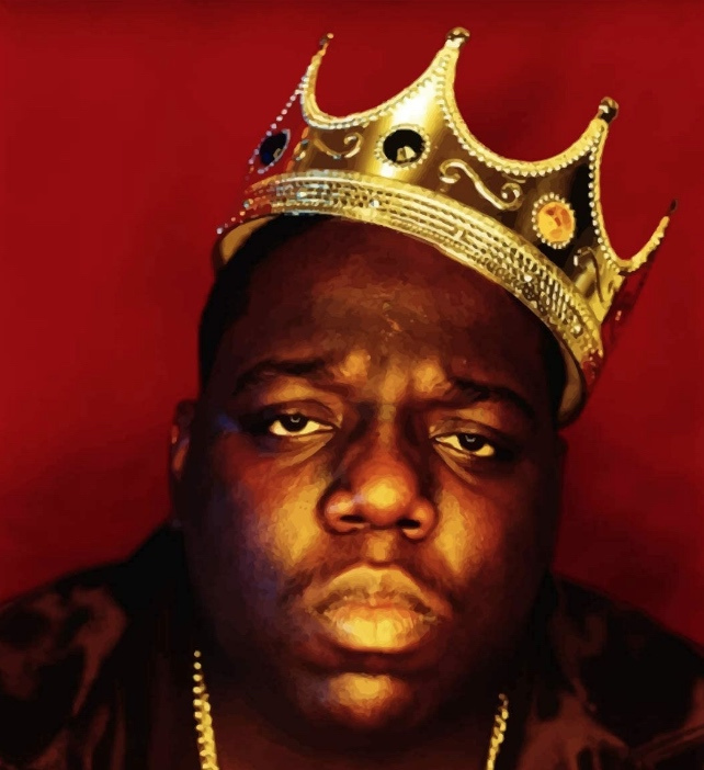 The Notorious B.I.G. wearing a crown